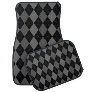Black and Charcoal Gray Argyle Pattern Car Mat