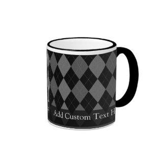Black and Charcoal Gray Argyle Ringer Mug