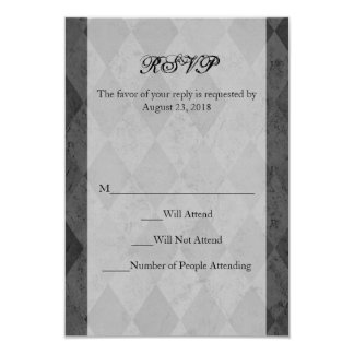 Black and Charcoal Harlequin with Script 3.5x5 Paper Invitation Card
