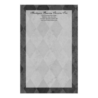 Black and Charcoal Harlequin with Script Stationery