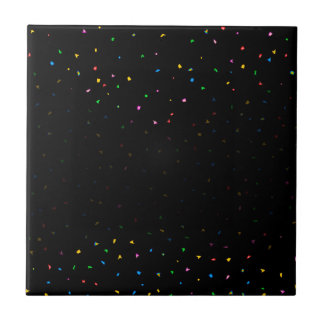 Black And Confetti Party Background Small Square Tile