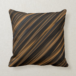 Black and Copper Colored Stripes Cushion