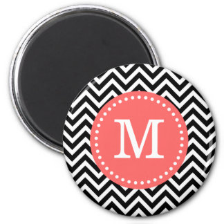 Black and Coral Modern Chevron Custom Monogram Magnet