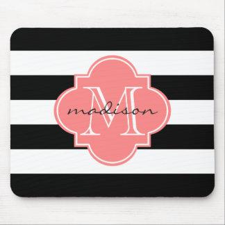 Black and Coral Nautical Stripes Custom Monogram Mouse Pad