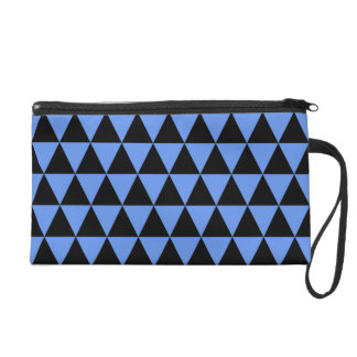 Black and Cornflower Blue Geometric Triangles Wristlet Purse