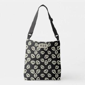 Black and Cream Cute Skull Pattern Monogram Crossbody Bag
