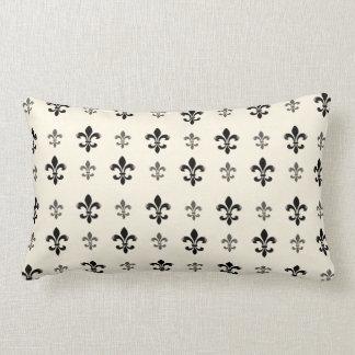 Black and Cream Elegant Fleur de Lis Lumbar Cushion