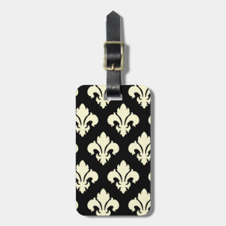 Black and cream fleur de lis luggage tag