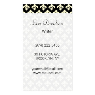 Black and cream fleur de lis pack of standard business cards