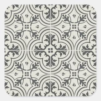 black and cream ornate floor pattern texture square sticker