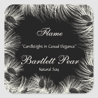 Black and Cream Pine Tree Border Candle Label