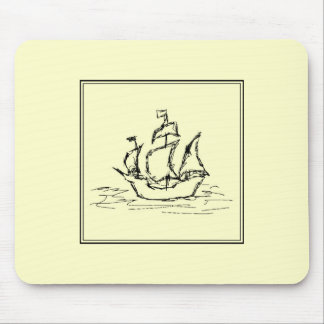 Black and Cream. Tall Ship. Sailing Ship. Mousepad