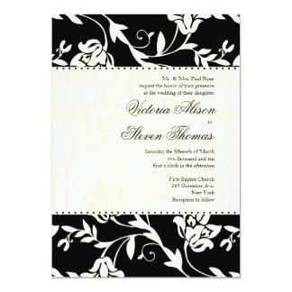 """Black and Cream Wedding Invitation 5"""" X 7"""" Invitation Card"""