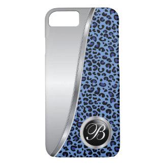 Black and Dark Blue Leopard Print | Monogram iPhone 8/7 Case