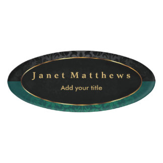 Black and Dark Green Damask with Gold Trim Design Name Tag