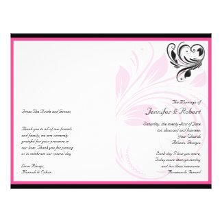Black and Dark Pink Floral Scroll Wedding Program 21.5 Cm X 28 Cm Flyer