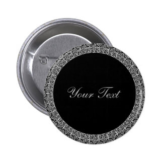 Black and Decorative Silver Metallic with DIY Text 6 Cm Round Badge