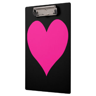 Black and Deep Pink Heart Shape Clipboard