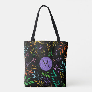 Black And Delicate Colorful Botanical Leafs Tote Bag