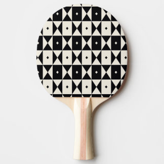 Black-and-Ecru Pattern Ping-Pong Paddle