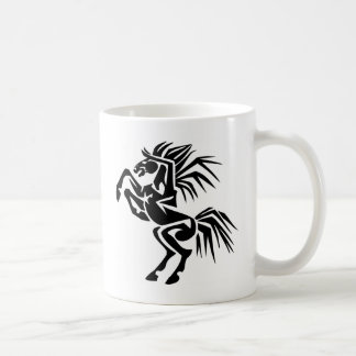 Black and Excited Horse Classic White Coffee Mug