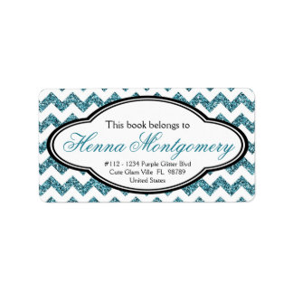 Black and Faux Glitter Aqua Blue Chevron Bookplate Label