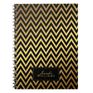 Black and Faux Gold Chevron Stripes Personalized Notebooks