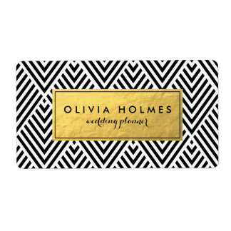 Black and Faux Gold Foil Chevron Label