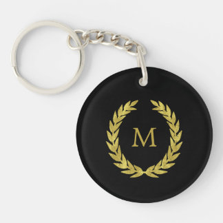 Black and Faux Gold Laurel Wreath with Monogram Key Ring
