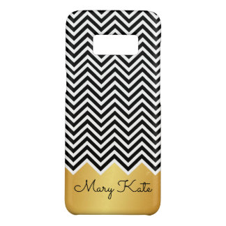 Black and faux gold Modern Chevron Custom Monogram Case-Mate Samsung Galaxy S8 Case