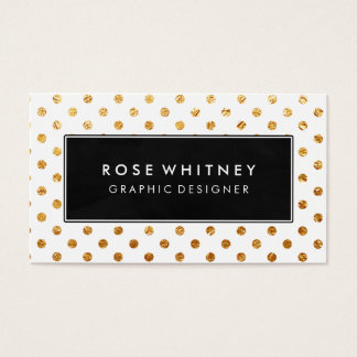Black and Faux Gold Polka Dots Business Card