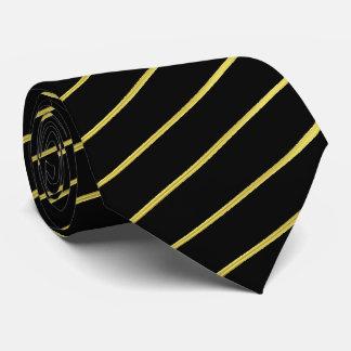 Black and Faux Gold Striped Tie | Diagonal Stripes