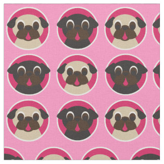 Black and Fawn Pug Heads Fabric on Pink