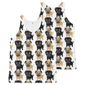 Black and Fawn Pugs All-Over Print Tank Top