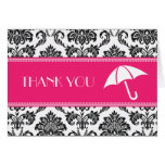 Black and Fuchsia Bridal Shower Thank You Greeting Cards