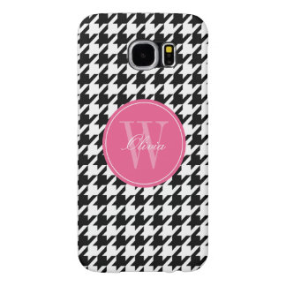 Black and Fuchsia Houndstooth Pattern Monogram Samsung Galaxy S6 Cases