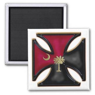 Black and Garnet South Carolina Iron Cross Square Magnet