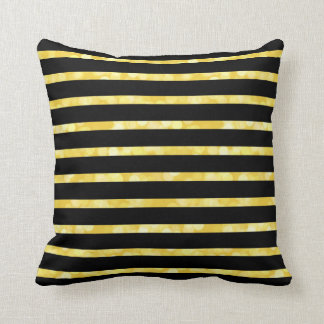 Black and Glitter Striped Cushion