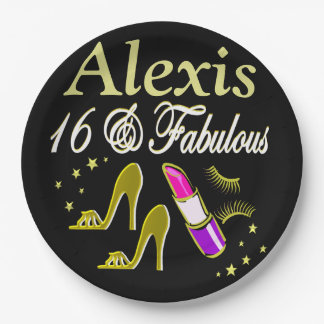 BLACK AND GOLD 16TH BIRTHDAY PERSONALIZED PLATES