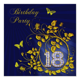 """Black and Gold 18th Birthday party 5.25"""" Square Invitation Card"""