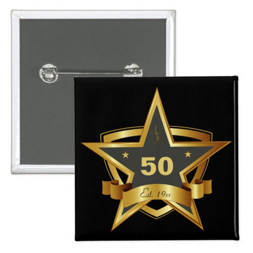 Black and Gold 50th Birthday Star Button