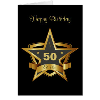 Black and Gold 50th Birthday Star Card