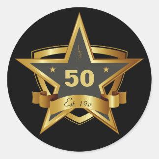 Black and Gold 50th Birthday Star Round Sticker