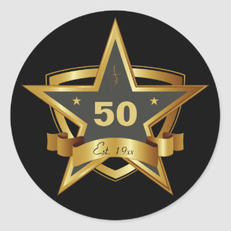 Black and Gold 50th Birthday Star Round Stickers