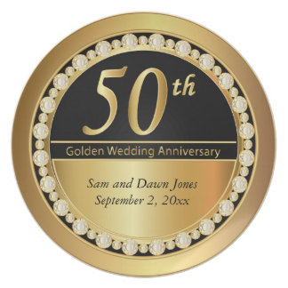 Black and Gold 50th Golden Anniversary Plate