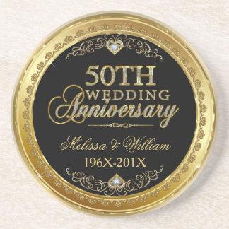 Black And Gold 50th Wedding Anniversary Design Coaster