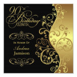 Black and Gold 90th Birthday Party Invitation