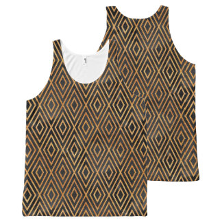 Black and Gold Abstract All-Over Print Singlet