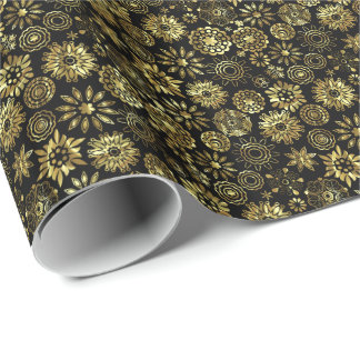 Black And Gold Abstract Christmas Snowflakes 2 Wrapping Paper