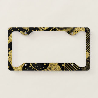 Black and Gold Abstract Geometric Art Licence Plate Frame